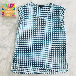 Limited Blouse Geo Check XS Cap Sleeve Teal Blue